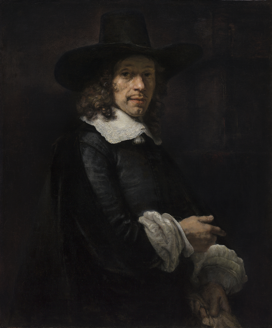 Portrait of a Gentleman with a Tall Hat and Gloves