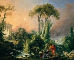 River Landscape with an Antique Temple