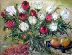 Still Life with White and Red Roses
