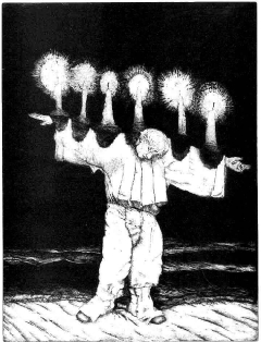 """""""Candleman"""" etching and aquatint"""