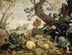 Landscape with Fruits and Vegetables in the foreground