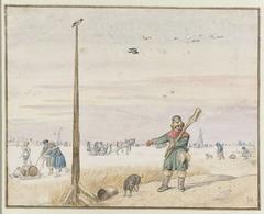 Eendenjager bij een paal op het ijs