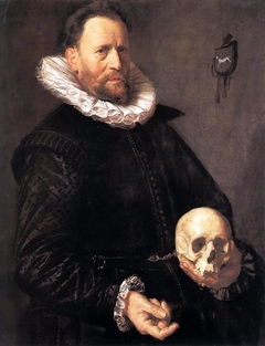 Portrait of a man with a skull