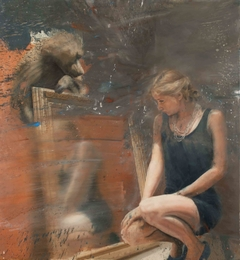 Woman at the mirror with baboon - oil on canvas - 130x120 cm.